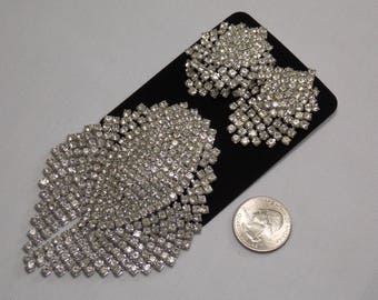 Vintage Large 2 3/4 x 3 3/4 inch Silver Rhinestone Brooch and Clip Earrings Set VG