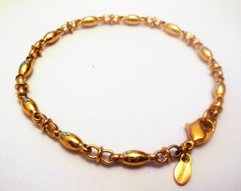 Vintage Bracelet Monet Chain Links Golden Tone Metal Retro Costume Jewelry Stumped Women's Fashion Accessories Gifts