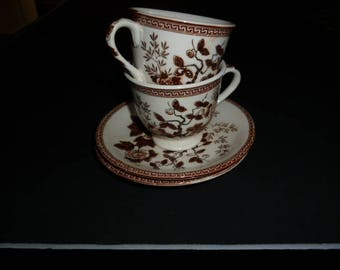 pair of Nasco Indian Tree footed demi-tasse cups and saucers