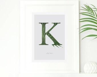 Personalised Botanical Leaf Print, Personalised Name, Alphabet Art Print, Monogram Print, Crazy Plant Lady, Greenery, Nordic, Palm Leaf