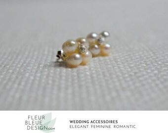 pearl stud earrings | bridal silver earrings | pearl wedding earrings | bridesmaid earrings