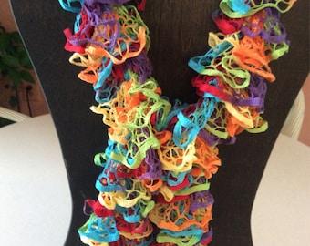 Handknit ruffled scarf