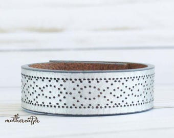 CUSTOM HANDSTAMPED narrow silver leather cuff by mothercuffer