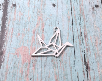 6 Large Origami crane charms (2 sided) - silver crane pendants, origami crane pendants, bird charms, Asian bird pendant, Japanese charm, VV6