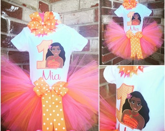 3 Pc Moana Birthday Tutu Set