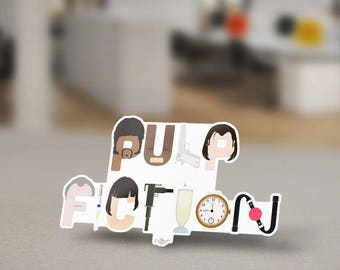 Pulp Fiction Sticker Typography Design Icons of the film created by Quentin Tarantino in Los Angeles in 1994 to spell the word Pulp Fiction