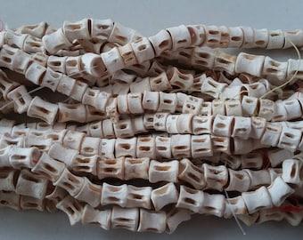 "Senegal tiny fish bone beads (7/8 mm. diam.) strand 16"", 70/90 vertebrae, organic beads, Fair Trade"