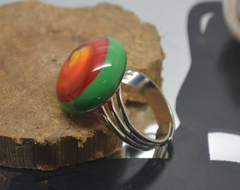 Multicolor green adjustable Lampwork Glass ring silver