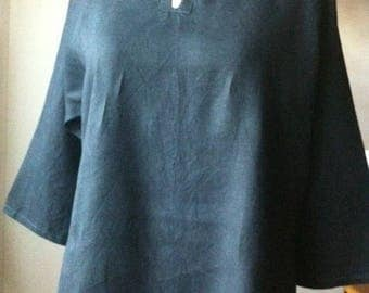 Lovely tunic blouse women XL Black linen loose-fitting and comfortable