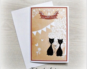 Wedding invitation rustic tribal cat