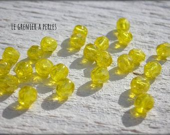 Faceted Bohemian 4 Citrine iridescent AB X 50 mm