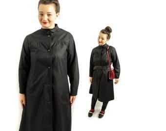 Black Trenchcoat, Nylon coat, Rain coat, Womens coat, Women coat, 90s Coat, Long Trench coat, 90s Minimalistic , Black trench / Medium Large