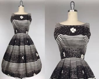 Vintage 1960s Dress // Black and White Early 60s Party Dress