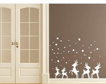 20% OFF Summer Sale Reindeer in Snow Christmas wall decal, sticker, mural, vinyl wall art
