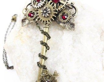 Steampunk Key Pendant - Steampunk Key Necklace - Steampunk Jewelry - Key Pendant - Gears and Cogs Necklace