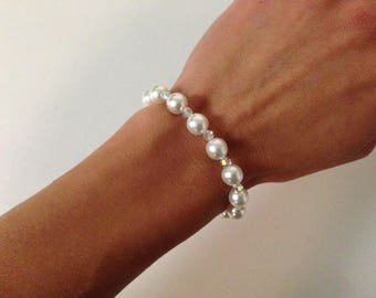 White bracelet and 925 sterling silver crystal glass pearls and swarovski crystal