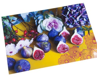 Laminated placemat figs and hydrangea