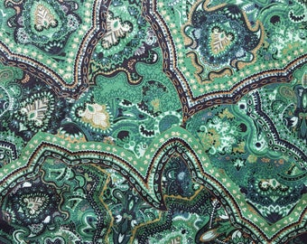 Intricate Metallic Green Cotton Fabric sold by the yard