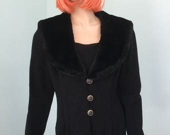 Fur Collar Jacket,Size 16, 80's Fur Collar and Cuffs