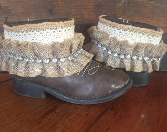 Upcycled little girls western cowboy boots size 10