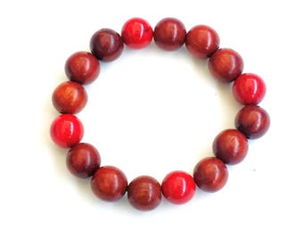 8MM Wood and Red Coral Stone Bead Bracelet