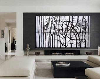 CUSTOM Abstract painting, Black and White Painting,  Black and White Abstract Modern Painting Large Size 195x114 cm / 76,7x44,8 inches