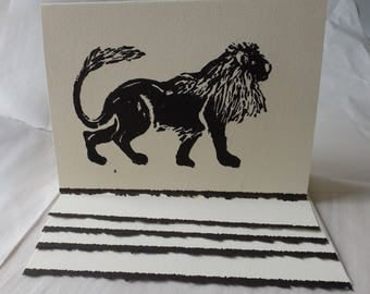Monoprint Lion Greeting Cards | Wedding Cards| Birthday Cards| Blank Stationary | 2 per order | Cool Cards | Cute Cards | Thank You Cards