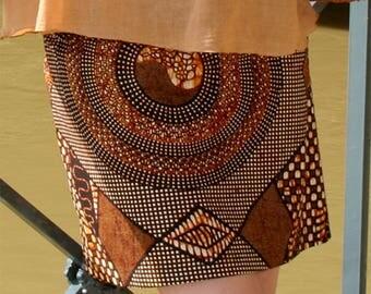 Jupe en wax, jupe courte, jupe trapèze, imprimée africain motif ethnique, wax original, jupe ethnique, jupe Ankara, mini jupe africaine