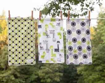 Handmade Burp Cloths, Set of 3 Burp Cloths, Baby Shower Gift, Baby Burp Cloths, Giraffes, Chenille Burp Cloths, Modern Burp Cloths