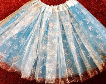 Stunning glitzy snowflake frozen Elsa inspired children's tutu skirt