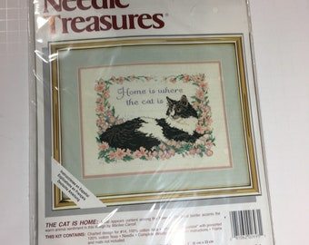 "Needle Treasures Counted Cross Stitch kit ""Home is where the Cat is"""