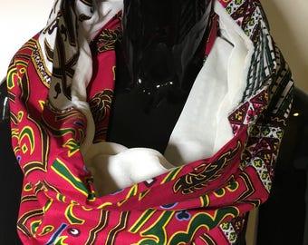 foulard ethnique infinity velours et wax echarpe tissu africain scarf tube snood original fantaisie rose ecru