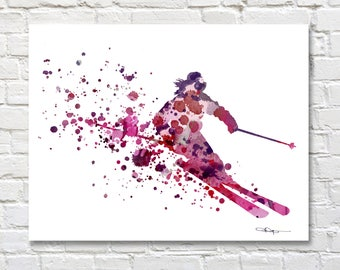 Skier Art Print - Abstract Watercolor Painting - Ski Wall Decor