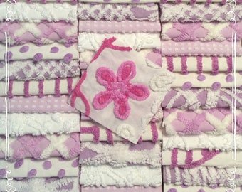 """Chenille fabric quilt squares 42-6"""" blocks, purple, lavender, lilac, flower, very shabby chic, vintage bedspread fabric"""