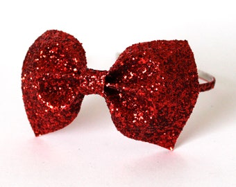 Red Bow Headband, Glitter Bow  headband, Christmas Hair Accessory, Red Headband, Red glitter bow, Bow headband, red bow, Snow white headband