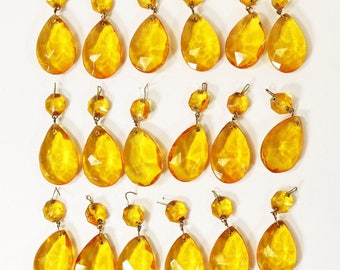"""Lot of 18 Vintage Yellow Amber Tear Drop Chandelier Crystal Prisms - 2 1/4"""" Long"""
