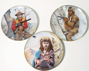 3 Gregory Perillo Legends of the West Collector Plates - Buffalo Bill Kit Carson