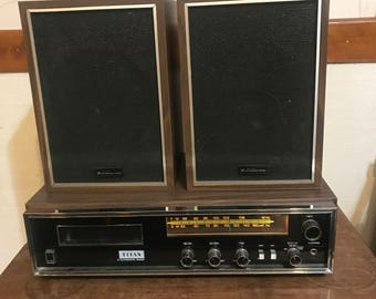 Vintage Titan Automatic Radio 8 Track Player and Speakers Model HLX-2534