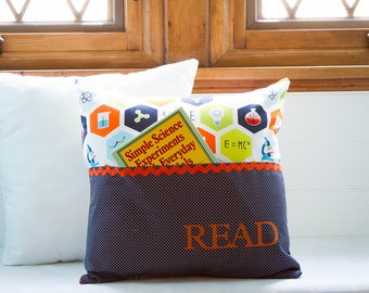Pocket Reading Pillow - Science Themed, Microscope, Atoms, Science Tools, Science Formulas