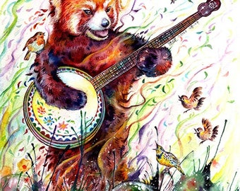 red panda - mounted original painting