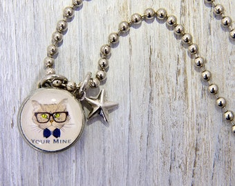 Hipster Cat Charm, Cat charm, kids necklaces, kids bracelets, girls necklace, girls bracelet, interchangeable jewelry, Kids gifts