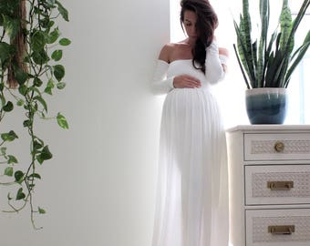 SALE 15% OFF off shoulder long sleeve Maternity gown photo shoot baby shower maternity dress - babydoll *