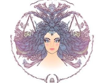 zodiac sign libra 3.5 inch Sticker White Vinyl Stickers die cut