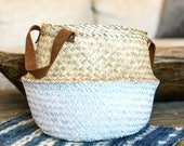 Two tone seagrass belly basket with leather handles, dipped belly basket