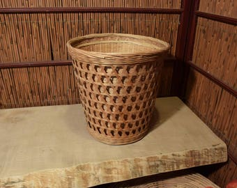 Set of 2 Traditional Weave Chinese Bamboo Waste Basket