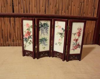 Vintage Chinese Mini 4 Panels Screen Doll House Screen Handpainted 4 Seasons