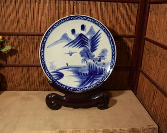 Antiques Japanese Blue And White Imari Porcelain Charger Plate Handpainted Landscape Scenery 14 Inches