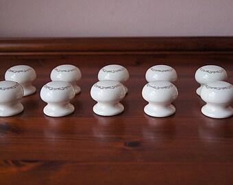 10 Porcelain drawer knobs, vintage ceramic drawer pulls with gold ornament.
