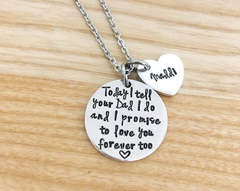 stepdaughter necklace, stepdaughter wedding gift, gift from stepmom, bridal gift for daughter, stepdaughter gift, hand stamped necklace
