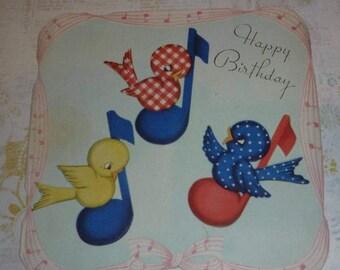 ON SALE till 6/30 Little Birds on Musical Notes Vintage 1940s Birthday Card